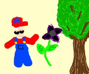 Mario feeds one a black flower to a tree