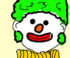 weird clown with green hair