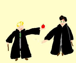 Malfoy gives Harry an Apple