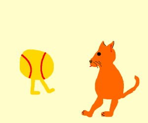 Two-legged ball-cat with two legs.