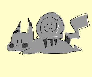 Grey pikachu snail