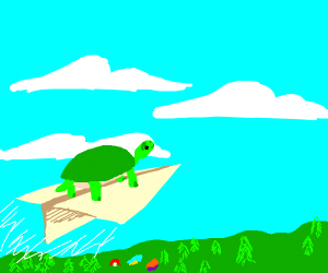 Turtle riding paper airplane