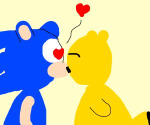 Sonic kissing pikachu...
