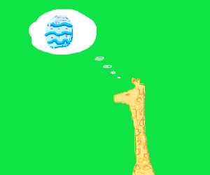 Giraffe thinks about an Easter egg