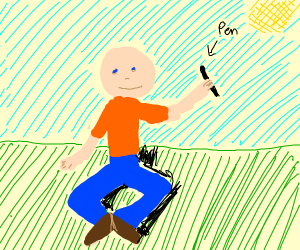 bald dude sitting down w/ a pen in hand