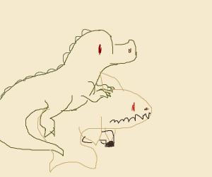 Dino riding shark with deagles akimbo