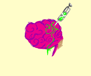 Brain injected with green poison