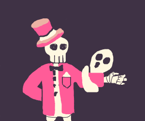 Skeleton in suit with ghost on its shoulder