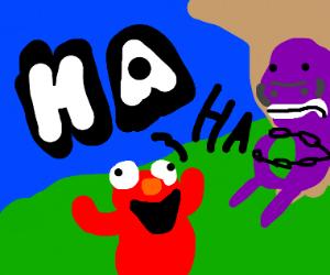 Elmo locks Barney to tree laughing maniacally