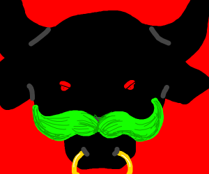 Bull with a green mustache