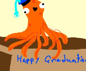 happy octopus graduating