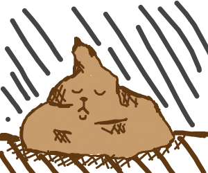 sad animal made out of poop