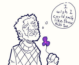 Old violet man wants to smile