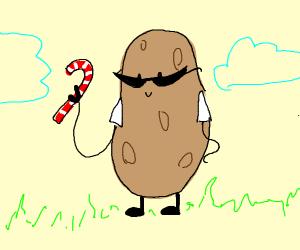 potato wearing sunglasses holding candy cane