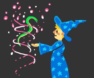 Wizard levitates snake