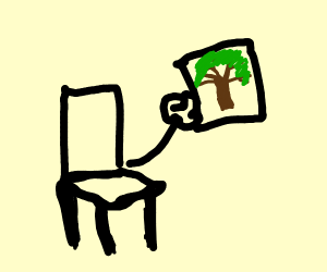 a chair holding a picture of a tree