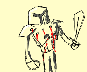 Knight with multiple bullet wounds