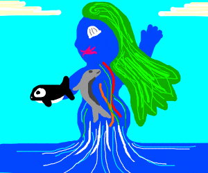 A lady who is made of sea life