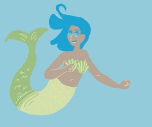 mermaid with green tail, blue hair and bra
