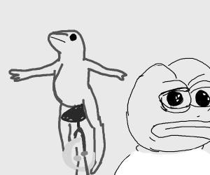 Cartoon meme frog