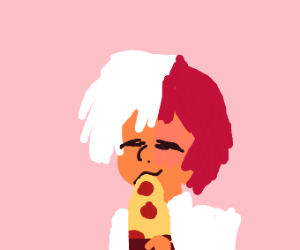 Guy eating pizza