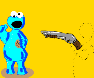 Invisible man about to shoot cookie monster
