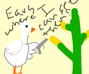 goose robbing corn at gun point