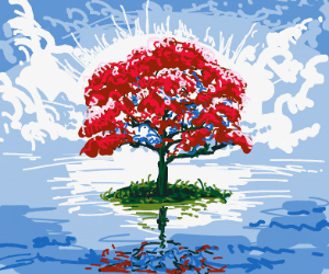 Majestic red tree on a small island in ocean