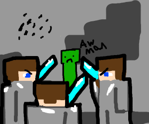 3 men fighting a creeper with swords