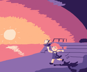 Little girl plays as sunset's in the distance