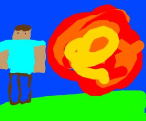 minecraft steve walks away from an explosion