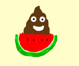 Watermelon with poop on it