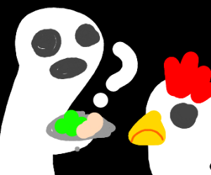 ghost taunts chicken with green eggs and ham