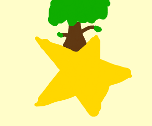 A tree on top of a yellow star shape