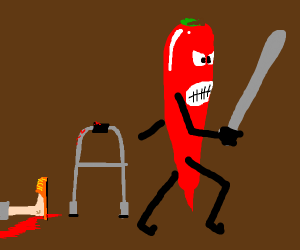 Old man was beaten by a pepper
