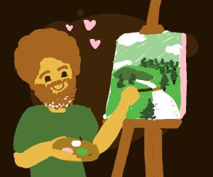 bob ross painting happy lil trees