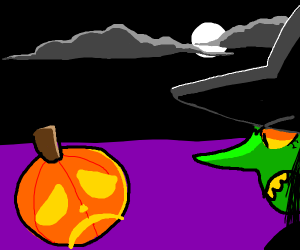witch stares angrily at depressed pumpkin