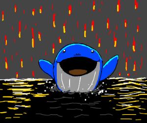 Happy whale in fire rain