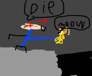 Man holds Garfield on an underground cliff