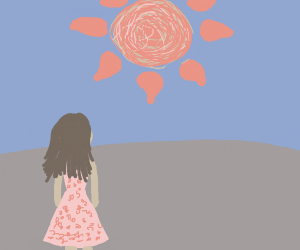 Girl stands looking at a sun