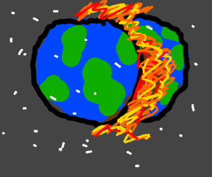 The earth is melting and split in half