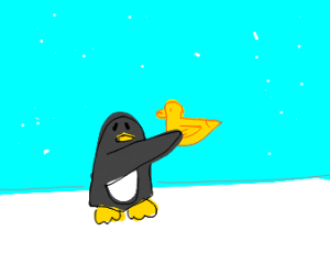 penguin holds up duck
