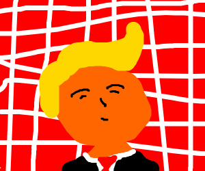donald trump sans in front of brick wall