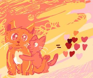 Cat + smaller cat = love