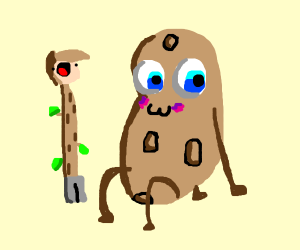 "stick person next to ""one big potato"""