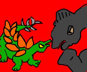 Green vs grey dinosaur characters argue