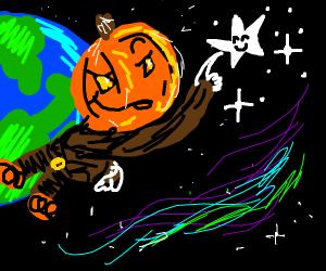 Pumpkin man touching stars