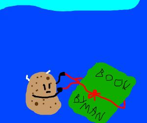 A potato wires a book underwater
