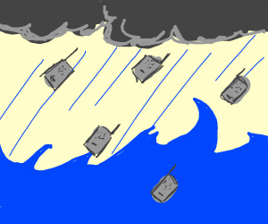 it's raining walkie talkies above the ocean
