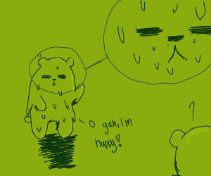 The green bear is awkwardly happy
